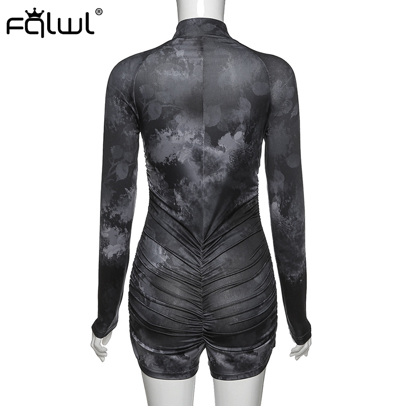 H4ea59e720631494e886dc6c8a2d24b782 - FQLWL Tie Dye Print Summer Sexy Bodycon Rompers Womens  Jumpsuit Playsuit Zipper Skinny Long Sleeve Ladies Short Jumpsuit Female