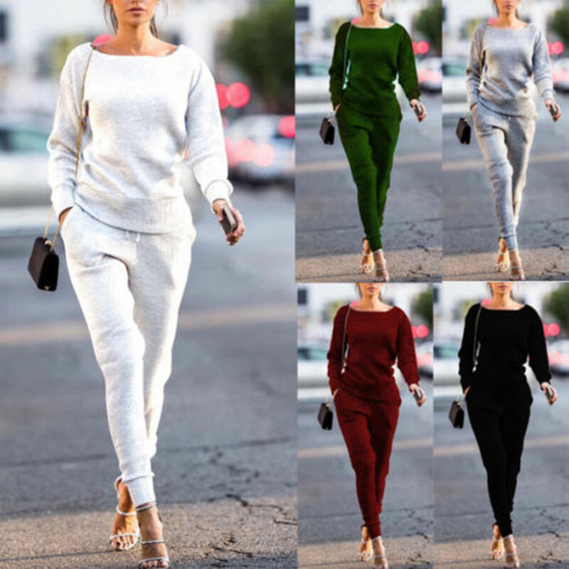 Goocheer Winter 2  Piece Sets Women Solid Black Gray Burgundy Knitted Sweatshirt Elastic Waist Warm Pullovers Tracksuit Outfits
