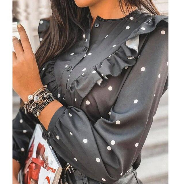 2020 Autumn Women Polka Dot Ruffle Blouse Shirt Elegant Fashion O Neck Buttons Streetwear Tops Lady Spring Long Sleeve Pullover 3