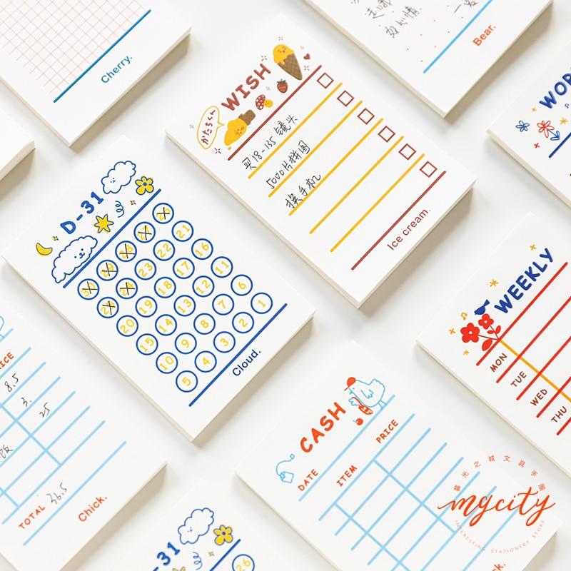 Yoofun 50 листов, минимальный список, план недели, блокнот Kawaii, канцелярские заметки, портативный блокнот, креативный школьный офис, поставка