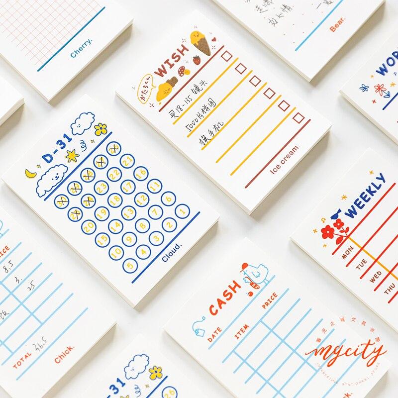Yoofun 50 folhas mínimo para fazer lista plano de semana bloco de memorando kawaii papelaria notas portátil bloco de notas criativo escola escritório fornecimento