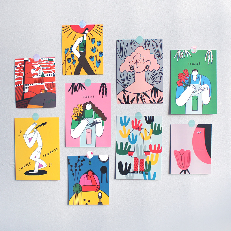 Ins Cute Abstract art illustration Postcard Double Sided Hand Painting Decoratiove Card Wall Sticker Photo Props Stationery gift