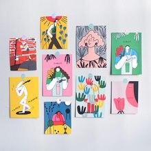 Ins لطيف مجردة الفن التوضيح بطاقة بريدية مزدوجة الوجهين قدح برسم يدوي ديكور بطاقة الجدار ملصق صور الدعائم القرطاسية هدية