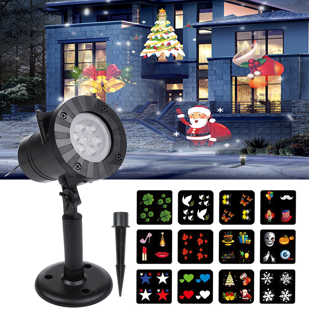 Christmas Halloween Projector Lights LED Outdoor Waterproof Laser Snowflake Projector 12 Patterns New Year Home Decoration