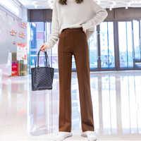 Pantalones informales de lana de cintura alta para mujer, Pantalón liso de oficina, color marrón, con bolsillos y cremallera, para Otoño e Invierno