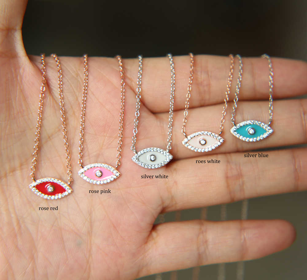 Promotion 5 color Hamsa Blue white pink red enamel Eyes charm pendant With 925 Sterling Silver Jewelry link Chain Necklace