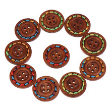10pcs 25mm Round Brown decorative wooden buttons sewing seam scrapbooking accessories wood button for clothing Crafts(China)