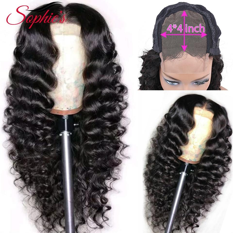 Sophies Tiefe Welle 4*4 Spitze Schließung Menschliches Haar Perücken Für Schwarze Frauen Pre Gezupft Haaransatz 150% Dichte Brasilianische nicht-Remy Haar