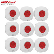 9Pcs Wolf-Guard 433MHz Wireless Emergency Alarm Panic SOS Button Home Hospital Security Alarm System for Elderly/Patients/Child
