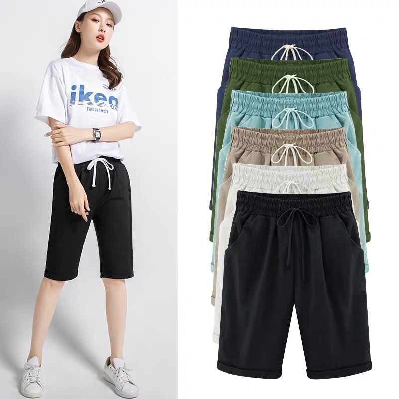 Women's High Waist Harem Pants Capris Plus Size 5XL 6XL 7XL Summer Beach Trousers Large Size cotton linen knee length pants
