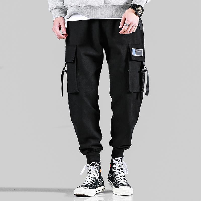 Multi-Pocket Men's Jogging Pants Ribbons Sweatpants Casual Trousers Male 2020 New Cargo Pants Men Elastic Waist Pants Loose