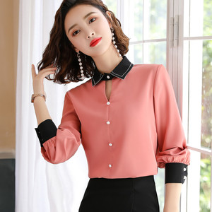 Image 2 - Chiffon Shirt Women Long Sleeve Autumn New Loose Lantern Sleeve Blouse Fashion Temperament Office Ladies Work Uniform