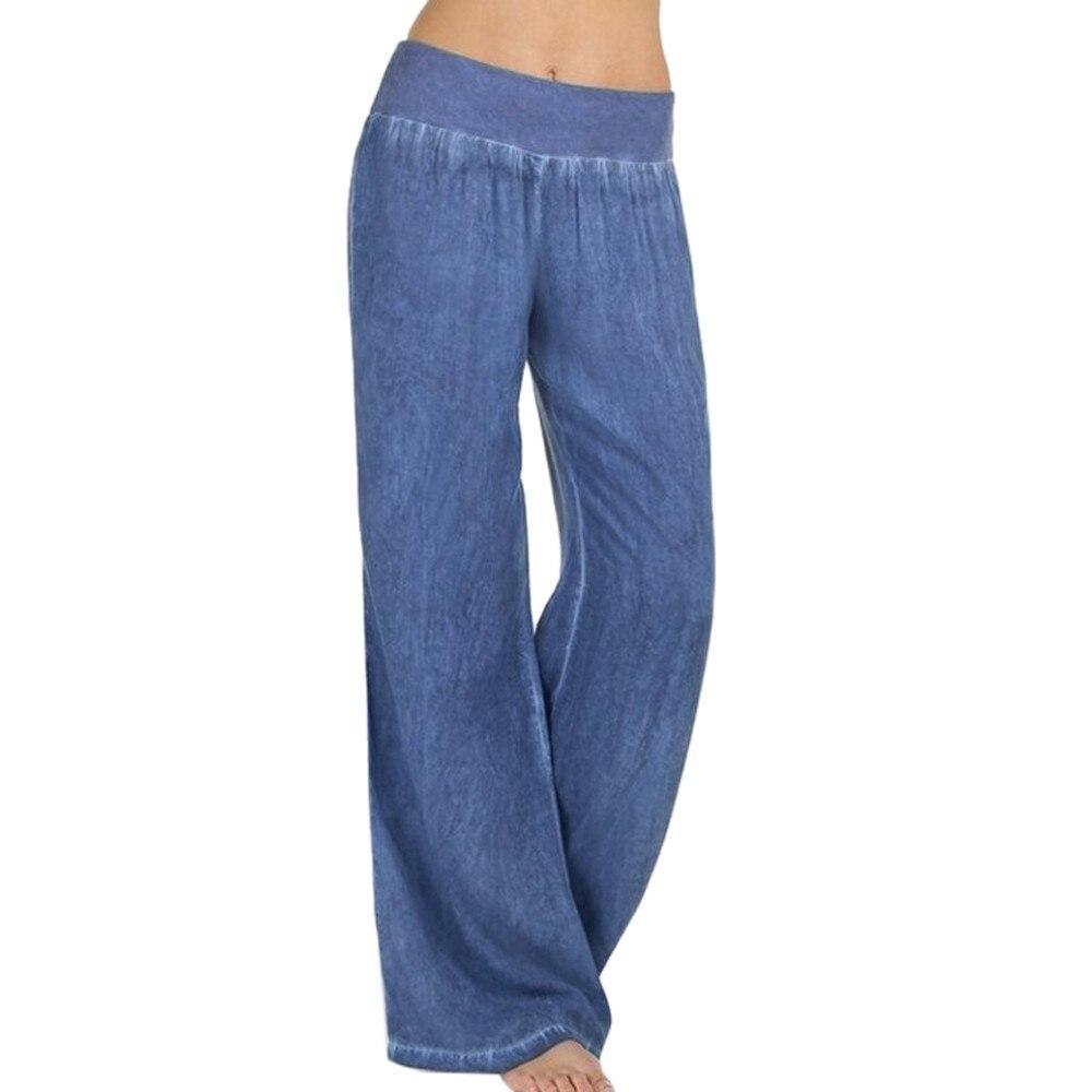 Plus Size S-5XL Comfortable Loose Wide Leg Imitation Denim Pants Women's Jeans Imitation Elastic Waist Full Long Trousers Pants