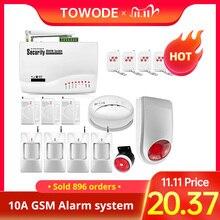 Towode 10a app controle sem fio gsm sistema de alarme segurança em casa proteção de segurança 850/900/1800/1900mhz espanhol/russo/inglês