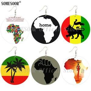 SOMESOOR африканские карты деревянные висячие серьги черная сила, кулак афро этнический Лев головной убор женщина обе стороны напечатаны для ж...