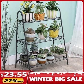 Iron 3-layers Plant Stand Succulent Shelf Rack Balcony Simple Indoor Garden Flower Pot Shelf Shoes Rack Book Shelf Home Decor