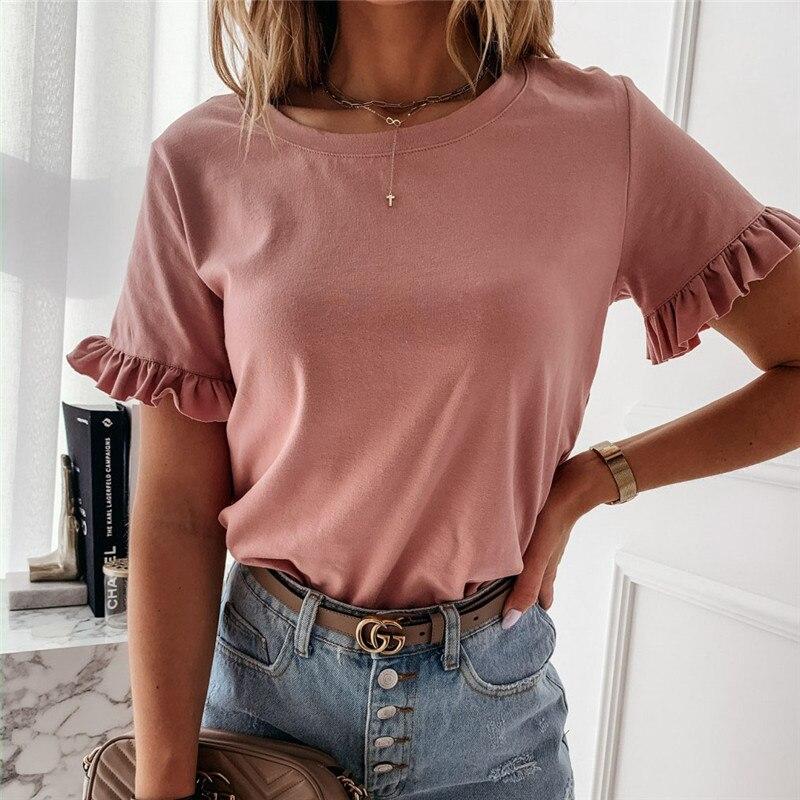 Summer Top Office Lady Tee Shirt Femme Short Sleeve Casual Plain Women OL T Shirt Ruffles Loose Ladies Tshirt Dames Streetwear