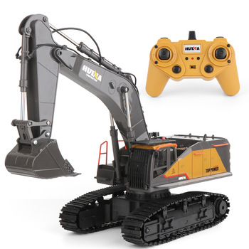 Rc Truck 1/14 Huina Excavator 1592 Remote Control Vehicle 22CH Hydraulic Excavator Alloy Model Truck Hobby Toys For Boys wooden hydraulic excavator model handmade scientific experiments steam