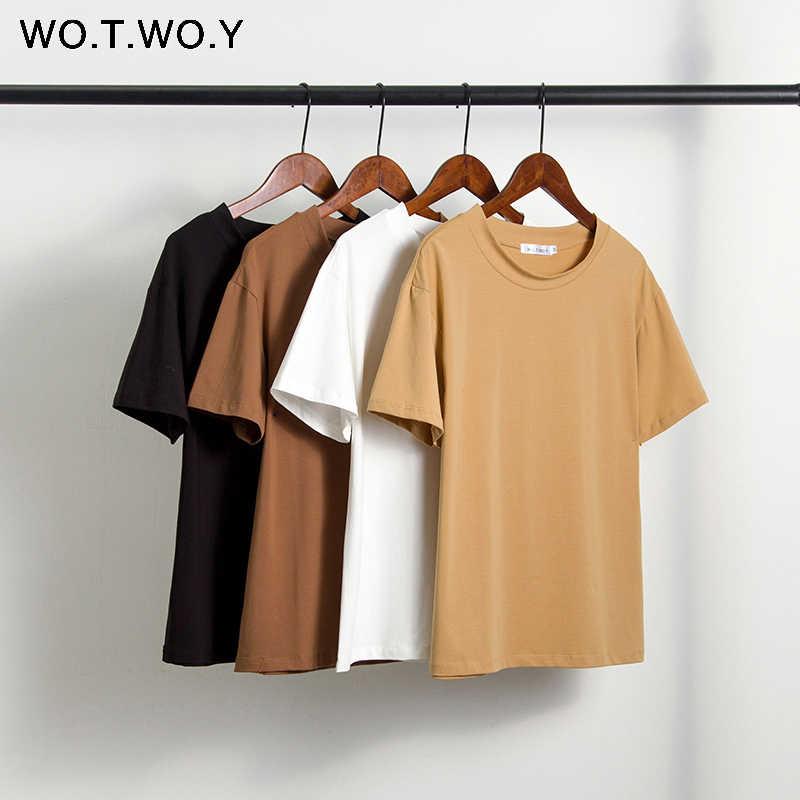 Wotwoy Musim Panas Rajutan Dasar Solid T-shirt Wanita Kasual Katun Lengan Pendek Tee-Kaos Wanita Baju Atasan Wanita 2020 Baru Fashion s-XL