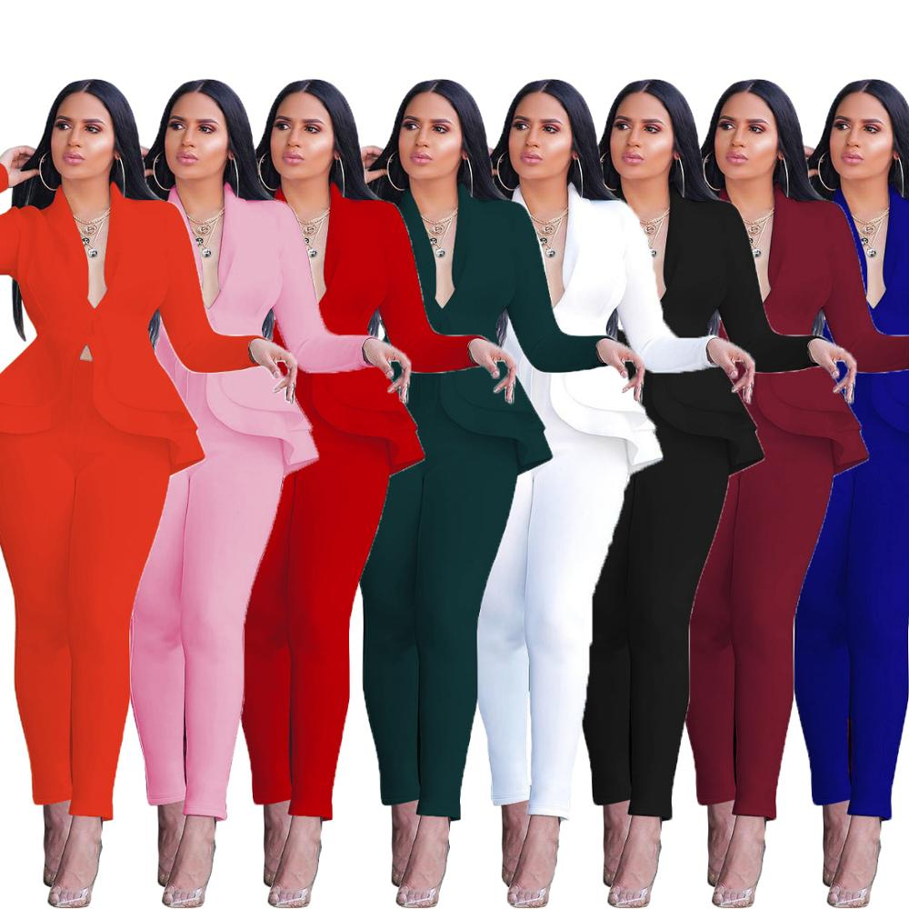 <font><b>Women</b></font> <font><b>Sexy</b></font> V Neck Tops and Skinny Pants <font><b>Set</b></font> <font><b>2</b></font> Two <font><b>Piece</b></font> <font><b>Set</b></font> Elegant Office Ladies Workwear Outfits Casual Tracksuit Plus Size image