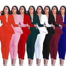Women Sexy V Neck Tops and Skinny Pants Set 2 Two Piece