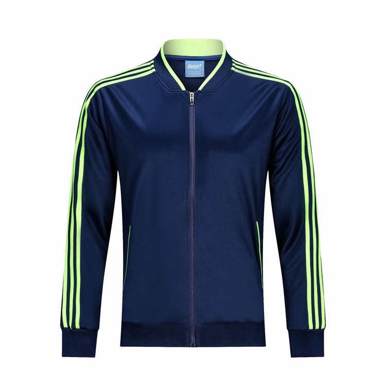 Sapphire Blue Trilateral Stripes Sports Jackets Autumn And Winter Outdoor Clothing Football Training Long-sleeve Suit Uniform Bu