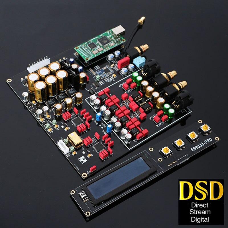 Double ES9038PRO DAC décodeur sans perte optique Coaxial décodeur 384kHz DSD 512 prise en charge ajouter Bluetooth 5.0 carte USB avec écran OLED