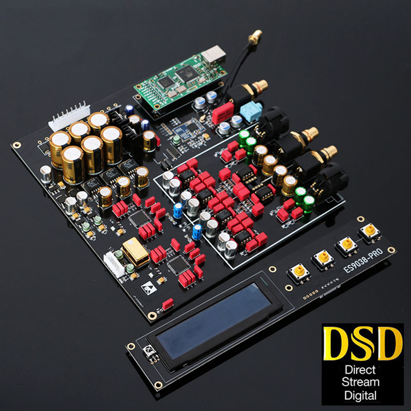 Dual ES9038PRO DAC Decoder Lossless Optical Coaxial Decoder 384kHz DSD 512 Support Add Bluetooth 5.0 USB Card With OLED Display