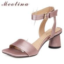 Meotina Summer Sandals Shoes Women Silk Round High Heels Ank