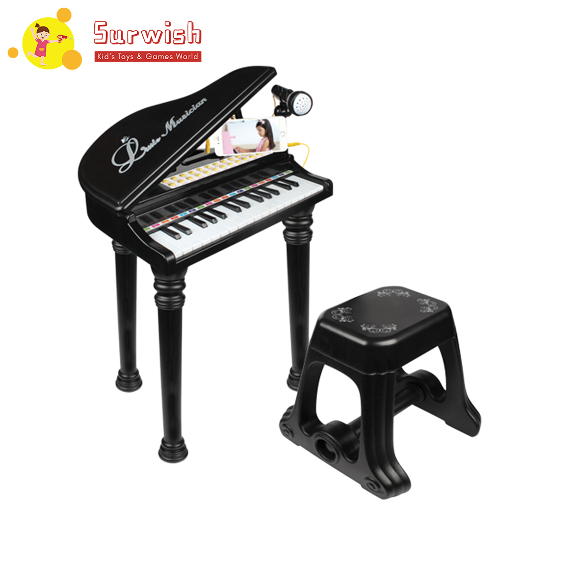 Kids Piano Mini Music Gift Children Musical Toy - Classic Black