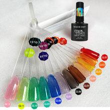 12 cores 8ml esmalte de vidro uv gel polonês neon cor geléia unhas embeber fora da arte do prego gel verão atributo gel uv translúcido