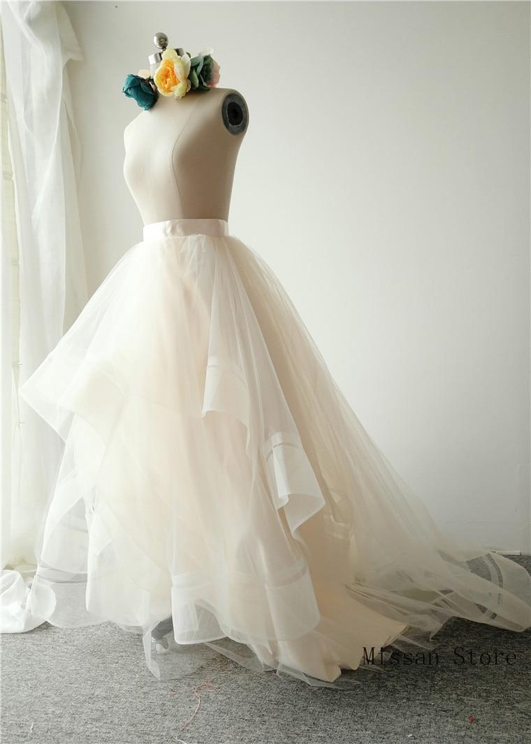Light Chmapgne Short Train Bridal Skirt Wedding Skirt Wedding Party Skirt High Low Puffy Wedding Dress Petticoat