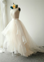 Light Chmapgne Short Train Bridal Skirt Wedding Skirt Wedding Party Skirt High Low Puffy Wedding Dress Petticoat