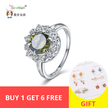 StrollGirl Hot Sale 925 Sterling Silver Rings Green Clear Cubic zirconia Flower Shape Rings for Women Fashion Jewelry Party Gift цена