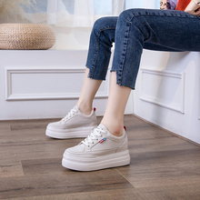 Купить с кэшбэком Women Beige/White Height Increasing Shoes Genuine Leather Platform Shoes Spring/Summer/Autumn/Winter Casual Lady Female Loafers