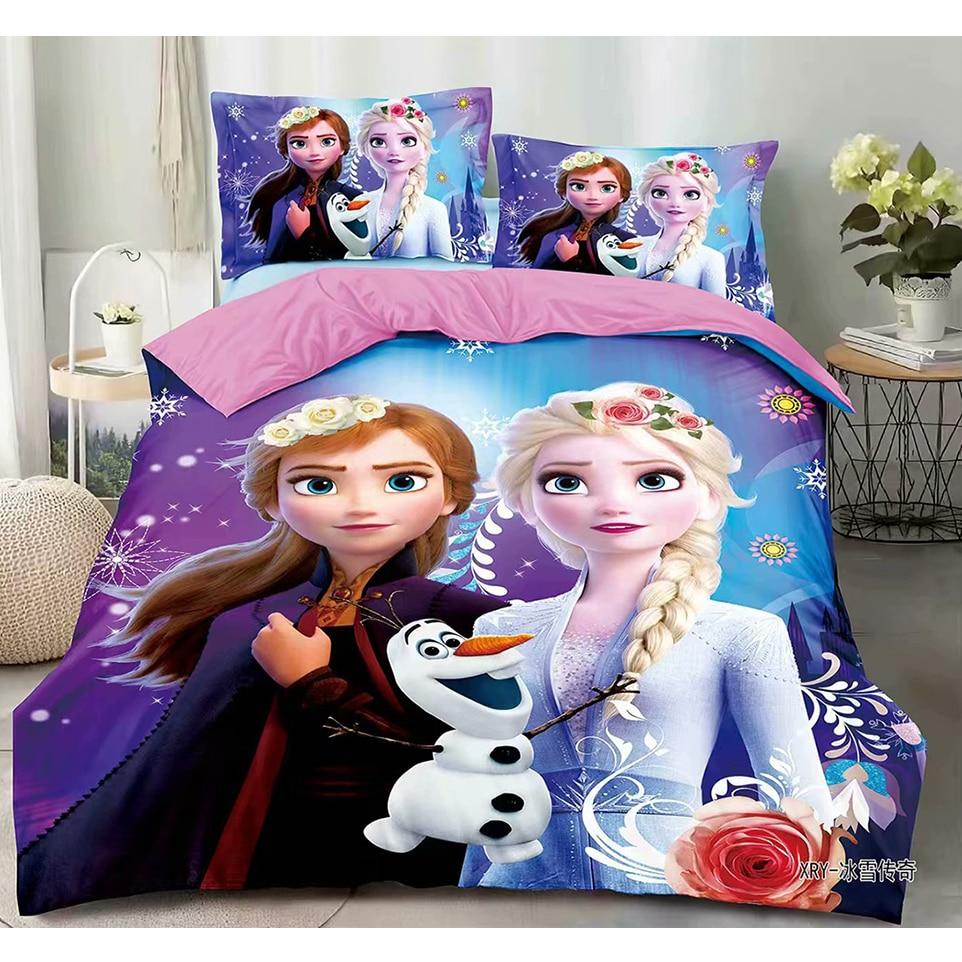 3D Printed Bedding Set Frozen Elsa Anna Rapunzel Princess Girls Boys Single Bedlinen Duvet Cover Pillowcases for 0.9m-1.2m Bed