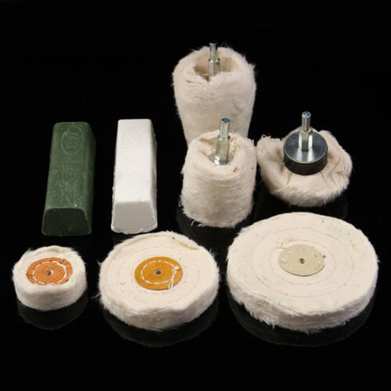 8x Polishing Kit Dome Goblet Cylinder Mop Buffing Wheel Compound Metal Plastic For Aluminum Wood Polishing Grinding Wheel