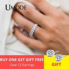 UMODE, серебряные кольца вечности для женщин, роскошные обручальные кольца с кубическим цирконием, женские кольца для пар, модные ювелирные изделия UR0580A