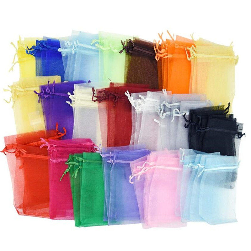 50pcs/lot Organza Gift Bags 7x9cm 9x12cm Satin Drawstring Organza Pouch Wedding Party Favor Gift Bag Jewelry Watch Bags 5Z