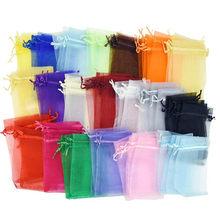 50pcs/lot Organza Gift Bags 7x9cm 9x12cm Satin Drawstring Organza Pouch Wedding Party Favor Gift Bag Jewelry Watch Bags 5Z