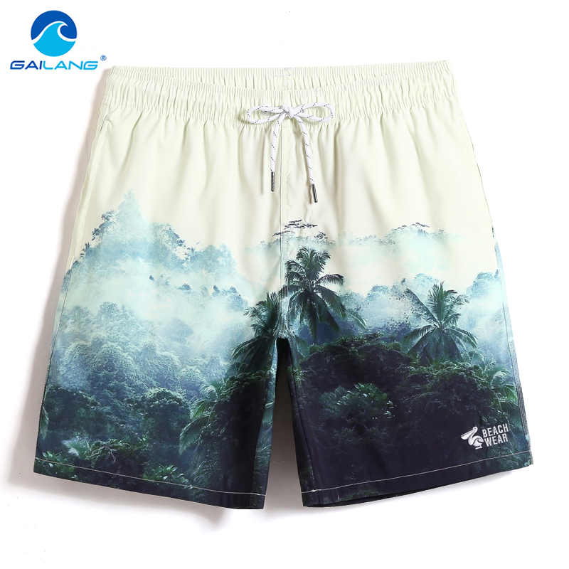 Bathing suit Men's Swimsuit Cartoon Jungle Printed   Board     shorts   Briefs plavky Quick dry surfing briefs joggers Swimwear mesh