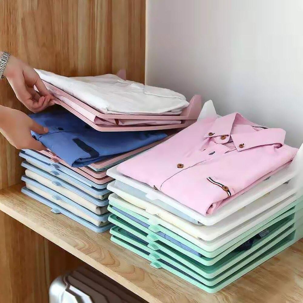 5 pces/10 pces suportes de armazenamento de pano dobrável simples vestuário vestuário acabamento rack casa camisa roupa interior organizador placa