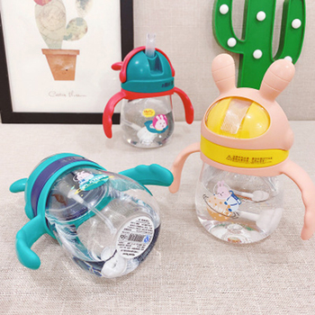 Baby Drinkware Little Animal Infant Learn to Drink Cup Children Bottle Straw Cups Anti-Choke Kettle Training To