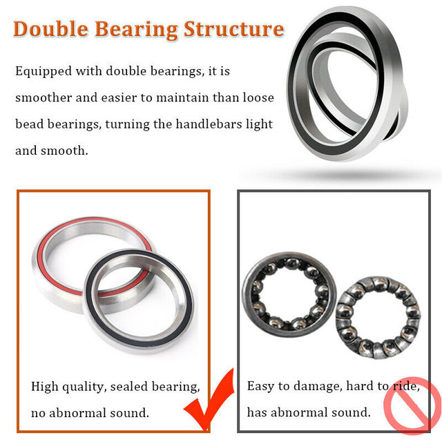 JESSICA 44-55mm Bicycle Double Bearing Headsets MTB//Road Bike Tapered Fork Tube