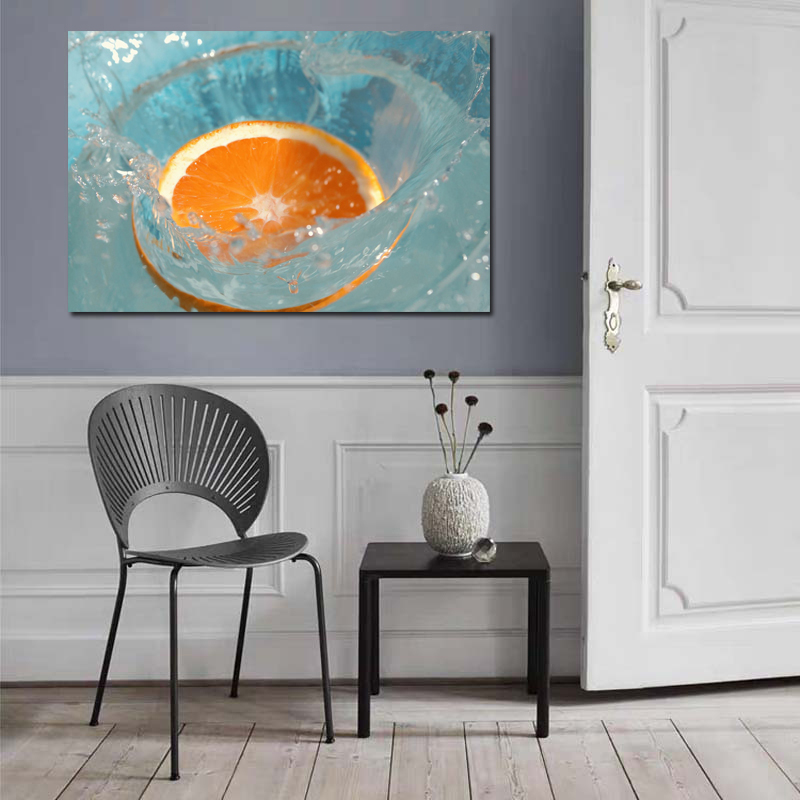 Half An Orange Art In Water Realist Picture Wall Art Canvas Painting For Home Kitchen Decor Painting On Canvas For Unique Gift