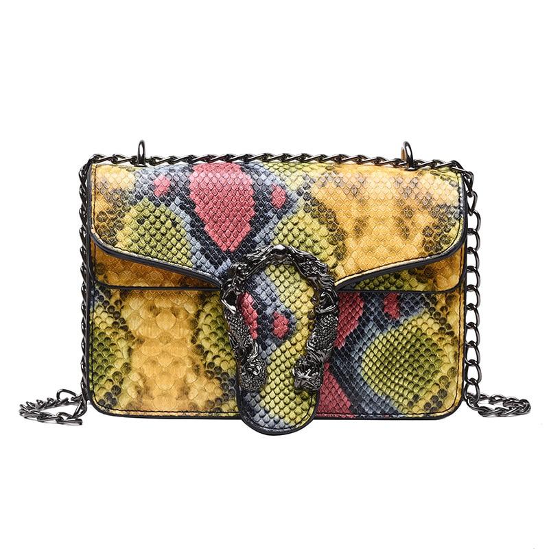 Female Designer Handbag Fashion New High Quality PU Female Handbag Chain Single Shoulder Bag Mini-messenger Bag змеиный мешок