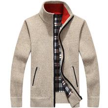Zima grube męskie sweter z dzianiny płaszcz Off biały z długim rękawem sweter z polaru Full Zip męskie na co dzień odzież Plus Size na jesień tanie tanio zipper Standardowy wełny 1383 Poliester COTTON Stałe MANDARIN COLLAR Kieszenie Komputery dzianiny Sweatercoat REGULAR