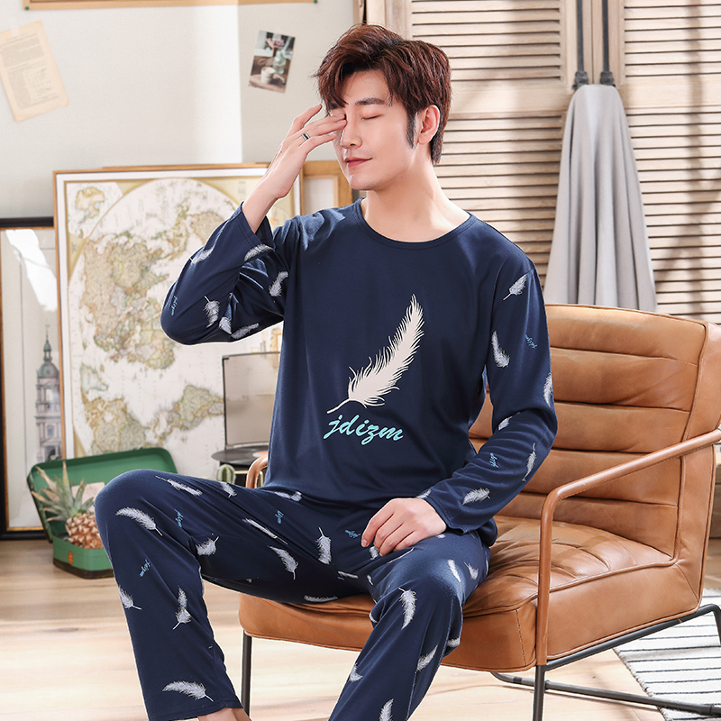 Men's Pajamas Long Sleeve Cotton Spring And Autumn Cartoon Youth And Student's Cotton Home Clothes Suit Autumn And Winter