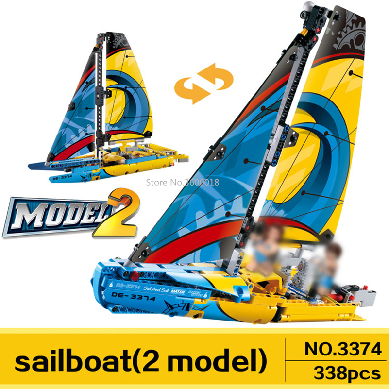 Decool 3374 Sailboat Rowin Compatible with <font><b>Legoinglys</b></font> technic <font><b>42074</b></font> Model Building Blocks Bricks toys Childrens birthday present image
