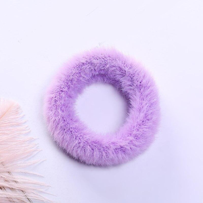 Новые зимние теплые мягкие резинки из кроличьего меха для женщин и девушек, эластичные резинки для волос, плюшевая повязка для волос, резинки, аксессуары для волос - Цвет: 43
